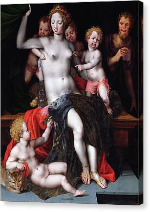 Jupiter As A Satyr With Antiope And Their Twins, Amphion And Zethos Canvas Print by Vincent Sellaer