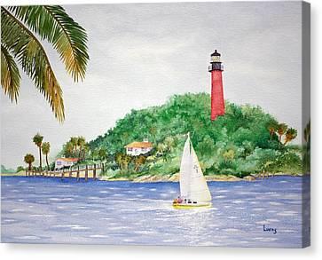 Jupiter Inlet Lighthouse Canvas Print by Jeff Lucas