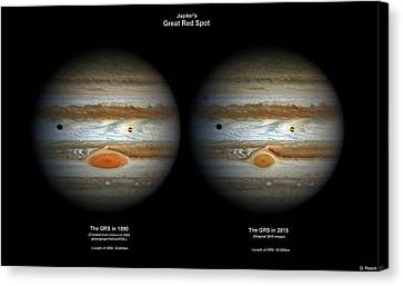 Jupiter's Great Red Spot In 1890 And 2015 Canvas Print by Damian Peach