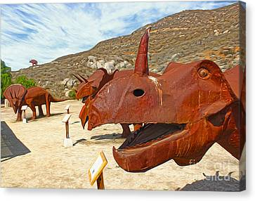 Jurupa Dinosaurs - Triceratops Group Canvas Print by Gregory Dyer