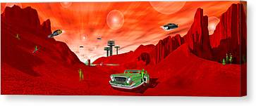 Just Another Day On The Red Planet Panoramic Canvas Print by Mike McGlothlen