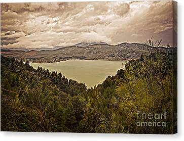 Just Before The Storm - Ardales Canvas Print by Mary Machare
