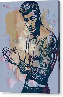 Justin Bieber Pop Art Etching Portrait Canvas Print by Kim Wang