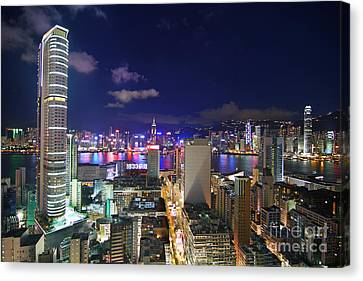 K11 In Tsim Sha Tsui In Hong Kong At Night Canvas Print by Lars Ruecker