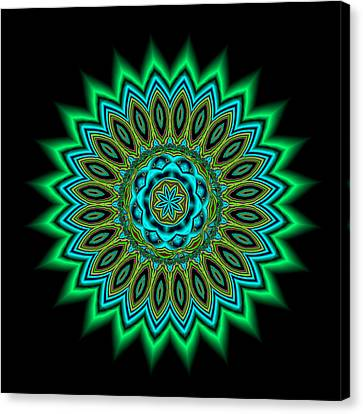 Kaleidoscope 1 Blues And Greens Canvas Print by Faye Giblin