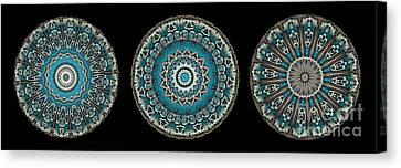 Kaleidoscope Steampunk Series Triptych Canvas Print by Amy Cicconi