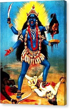 Kali - Trampling Shiva Canvas Print by Pg Reproductions