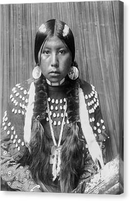 Kalispel Indian Woman Circa 1910 Canvas Print by Aged Pixel