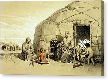 Kalmuks With A Prayer Wheel, Siberia Canvas Print by Francois Fortune Antoine Ferogio