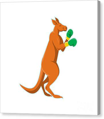 Kangaroo Boxer Boxing Retro Canvas Print by Retro Vectors