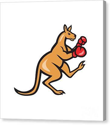 Kangaroo Kick Boxer Boxing Cartoon Canvas Print by Aloysius Patrimonio