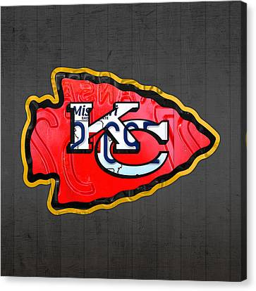Kansas City Chiefs Football Team Retro Logo Missouri License Plate Art Canvas Print by Design Turnpike