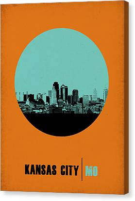 Kansas City Circle Poster 1 Canvas Print by Naxart Studio