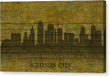 Kansas City Missouri City Skyline Silhouette Distressed On Worn Peeling Wood Canvas Print by Design Turnpike