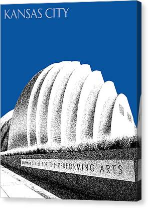 Kansas City Skyline 3 Kauffman Center - Royal Blue Canvas Print by DB Artist