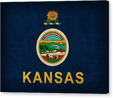Kansas State Flag Art On Worn Canvas Canvas Print by Design Turnpike