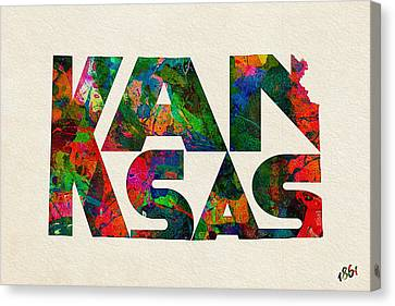 Kansas Typographic Watercolor Map Canvas Print by Ayse Deniz