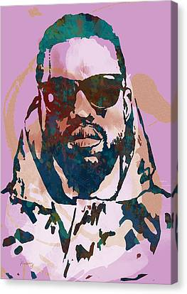 Kanye West Net Worth - Stylised Pop Art Drawing Potrait Poster Canvas Print by Kim Wang