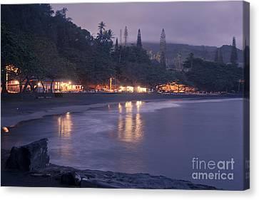 Kapueokahi - Hana Bay - Sunset Hana Maui Hawaii Canvas Print by Sharon Mau