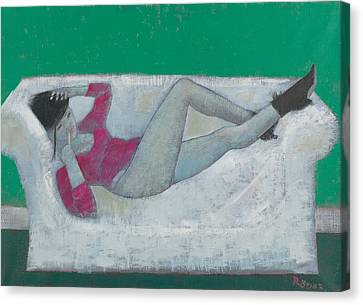Karen On The Settee Oil On Canvas Canvas Print by Endre Roder