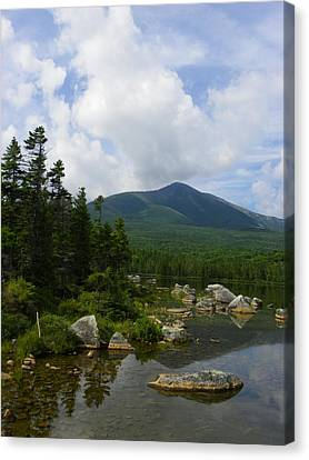 Katahdin From Sandy Stream Pond Canvas Print by Georgia Hamlin