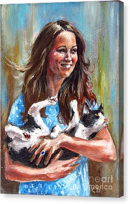 Kate Middleton Duchess Of Cambridge And Her Royal Baby Cat Canvas Print by Daniel Cristian Chiriac