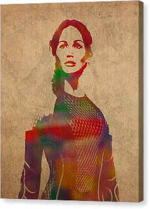 Katniss Everdeen From Hunger Games Jennifer Lawrence Watercolor Portrait On Worn Parchment Canvas Print by Design Turnpike