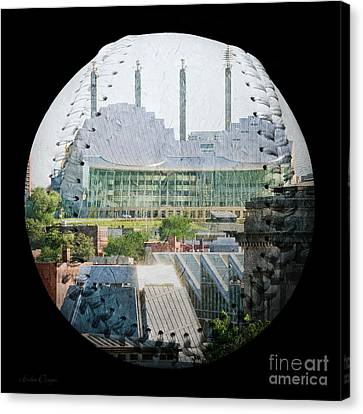Kauffman Center For The Performing Arts Square Baseball Canvas Print by Andee Design