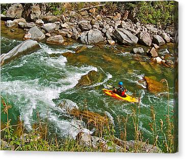 Kayaker On Gallatin River In Montana Canvas Print by Ruth Hager