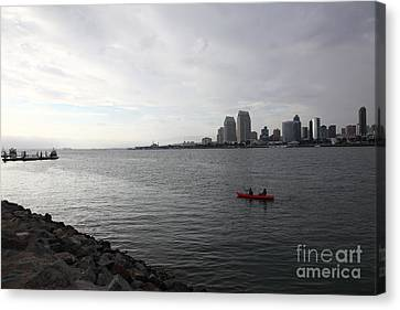 Kayaking Along The San Diego Harbor Overlooking The San Diego Skyline 5d24377 Canvas Print by Wingsdomain Art and Photography