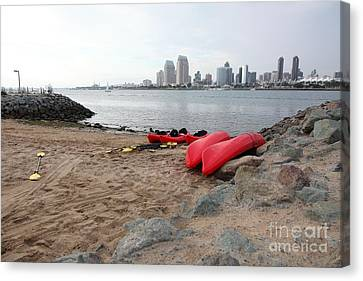 Kayaks On Coronado Island Overlooking The San Diego Skyline 5d24369 Canvas Print by Wingsdomain Art and Photography
