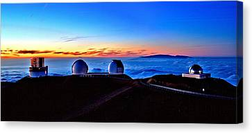 Keck At Sunset - Panoramic Canvas Print by Bob Kinnison