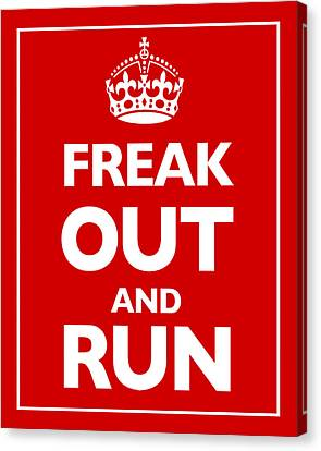 Keep Calm And Carry On Parody Red Canvas Print by Tony Rubino