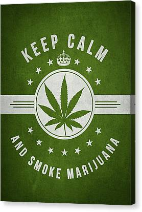 Keep Calm And Smoke Marijuana - Green Canvas Print by Aged Pixel