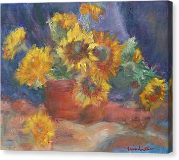 Keep On The Sunny Side - Original Contemporary Impressionist Painting - Sunflower Bouquet Canvas Print by Quin Sweetman