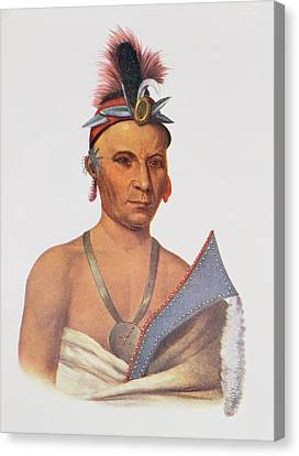 Keesheswa Or The Sun, A Fox Chief, C.1837, Illustration From The Indian Tribes Of North America Canvas Print by Charles Bird King