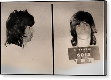 Keith Richards Mugshot - Keith Don't Go Canvas Print by Bill Cannon