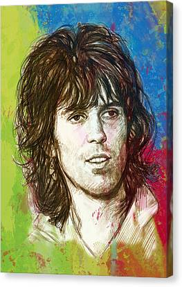 Keith Richards Stylised Pop Art Drawing Potrait Poster Canvas Print by Kim Wang