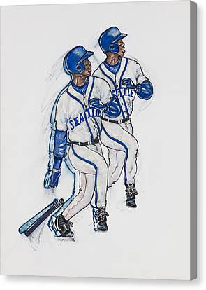 Ken Griffey Jr. Canvas Print by Suzanne Macdonald