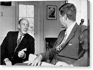 Kennedy And Adlai Stevenson Canvas Print by Underwood Archives
