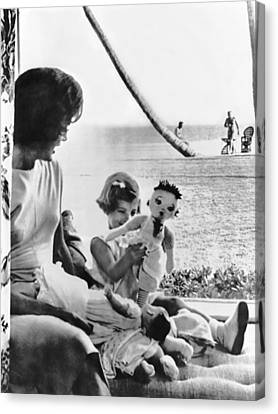 Kennedy Family At Palm Beach Canvas Print by Underwood Archives