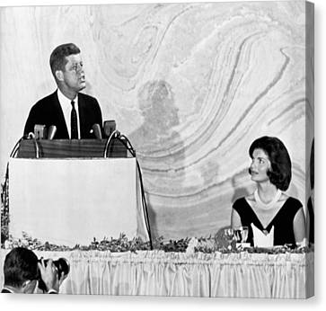 Kennedy Speaks At Fundraiser Canvas Print by Underwood Archives