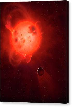 Kepler 438 And Rocky Planet 438b Canvas Print by Mark Garlick