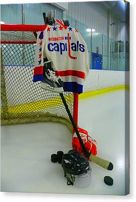 Kevin Hatcher Vintage Home Hockey Jersey Canvas Print by Lisa Wooten