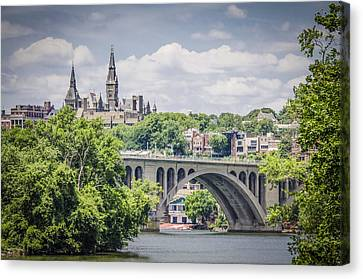 Key Bridge And Georgetown University Canvas Print by Bradley Clay
