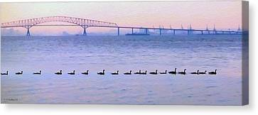 Key Bridge And Waterfowl Canvas Print by Brian Wallace