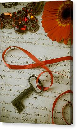 Key On Red Ribbon Canvas Print by Garry Gay