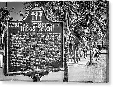 Key West African Cemetery Sign Landscape - Key West - Black And White Canvas Print by Ian Monk