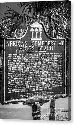 Key West African Cemetery Sign Portrait - Key West - Black And W Canvas Print by Ian Monk