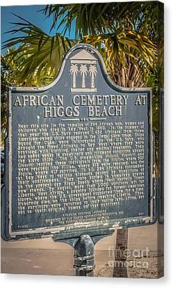 Key West African Cemetery Sign Portrait - Key West - Hdr Style Canvas Print by Ian Monk